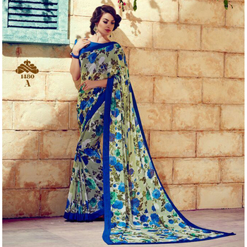 Blue printed georgette sare with blouse