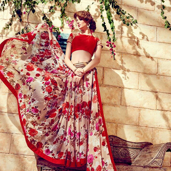 Red printed georgette sare with blouse