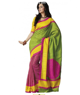 GREEN printed art silk sare with blouse