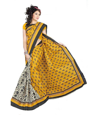 BROWN printed art silk sare with blouse
