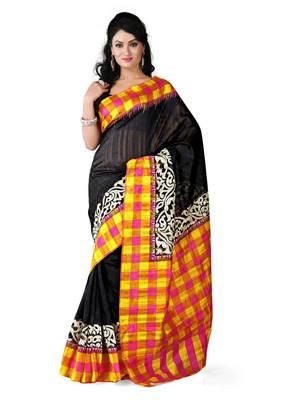BLACK printed art silk sare with blouse