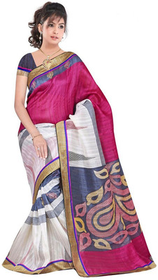 OFF WHITE printed art silk sare with blouse