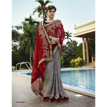Red and Blue embroidered georgette sare with blouse