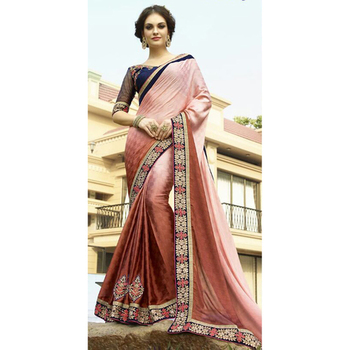 Brown and Light Pink embroidered georgette sare with blouse