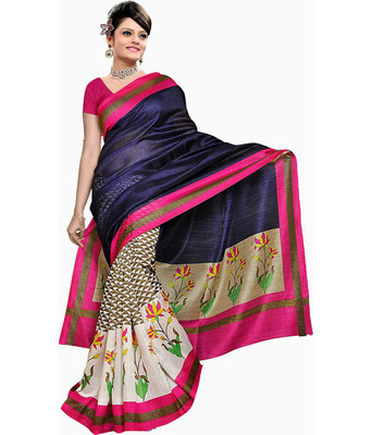 BLUE printed art silk sare with blouse