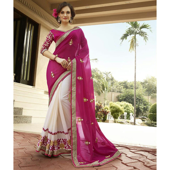 Pink and Off White embroidered georgette sare with blouse