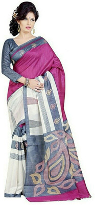 WHITE printed art silk sare with blouse