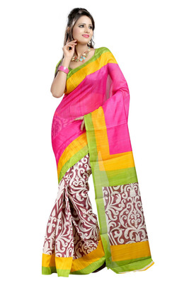 PINK printed art silk sare with blouse