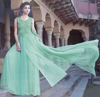 Sky Blue Georgette  and  Net  embroidered semi stitched salwar with dupatta