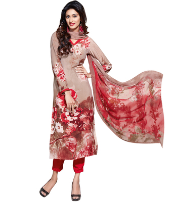 Cream printed Crepe unstitched salwar with dupatta