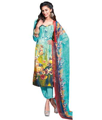 Sky Blue printed Crepe unstitched salwar with dupatta