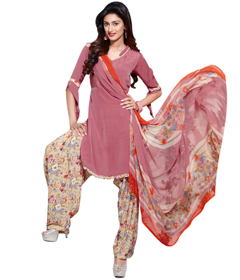 Peach printed Crepe unstitched salwar with dupatta