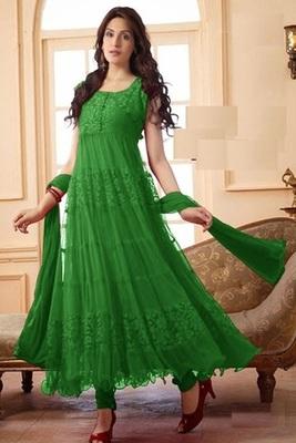 Green net embroidered unstitched salwar with dupatta