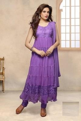 Purple net embroidered unstitched salwar with dupatta