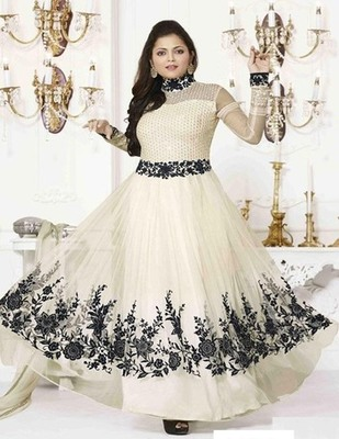 White net embroidered unstitched salwar with dupatta