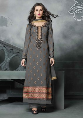 Gray embroidered georgette semi stitched salwar with dupatta