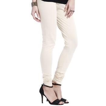 Off-White plain 4-Way Lycra Cotton leggings