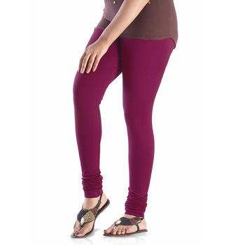 Purple plain 4-Way Lycra Cotton leggings