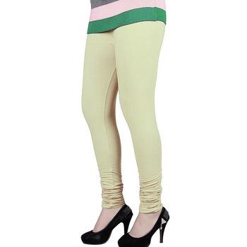 Cream plain 4-Way Lycra Cotton leggings