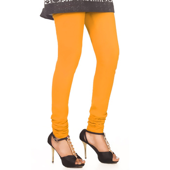 Yellow plain 4-Way Lycra Cotton leggings