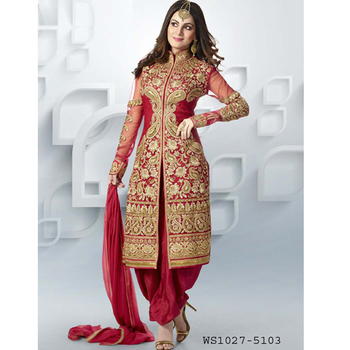 Red embroidered santoon semi stitched salwar with dupatta