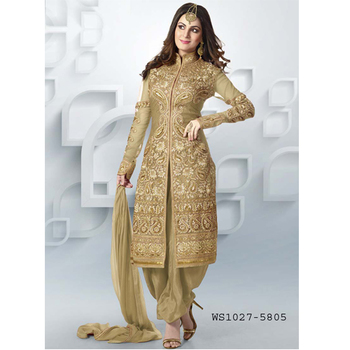 Cream embroidered santoon semi stitched salwar with dupatta