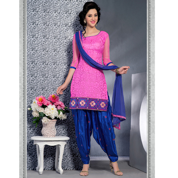 Pink And Blue embroidered net semi stitched salwar with dupatta