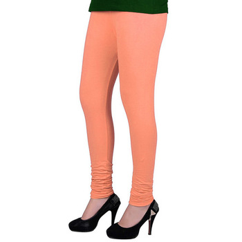 Peach plain 4-Way Lycra Cotton leggings