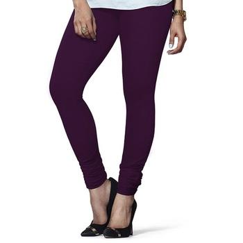 Dark-Purple plain 4-Way Lycra Cotton leggings
