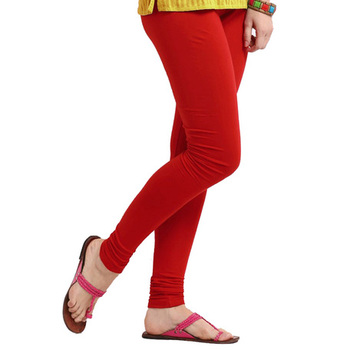 Red plain 4-Way Lycra Cotton leggings
