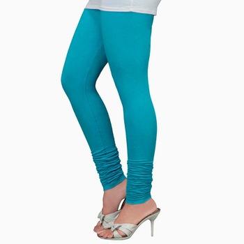 Turquoise plain 4-Way Lycra Cotton leggings