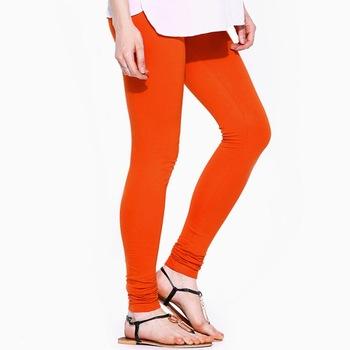 Orange plain 4-Way Lycra Cotton leggings