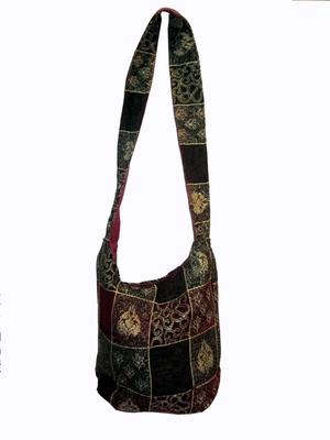 velvet patch work hand bag