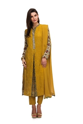 Yellow georgette embroidered semi  stitched salwar with dupatta