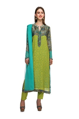 Multicolor georgette embroidered semi  stitched salwar with dupatta