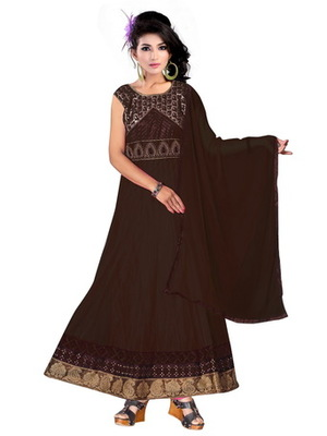 Black embroidered net readymade salwar suit