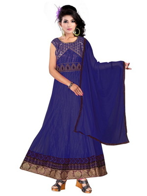 Blue embroidered net readymade salwar suit