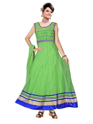 Green embroidered net readymade salwar suit
