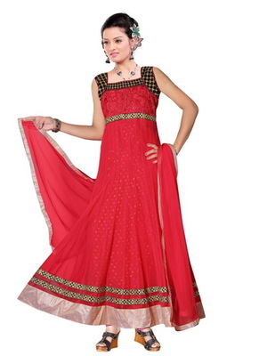 Red embroidered net readymade salwar suit