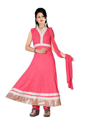 Pink embroidered net readymade salwar suit