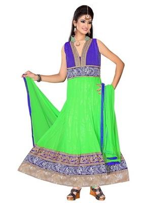 Green and blue net readymade salwar suit