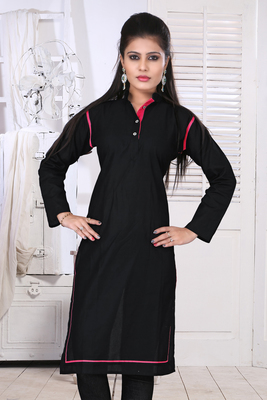 black cotton plain kurti