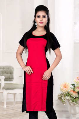 Red and black cotton plain kurti
