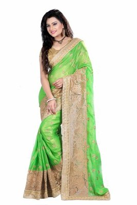 Green Embroidered georgette chiffon saree with blouse