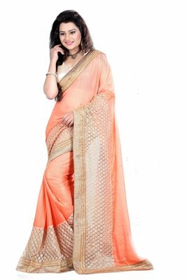 Orange and Brown Embroidered georgette chiffon saree with blouse