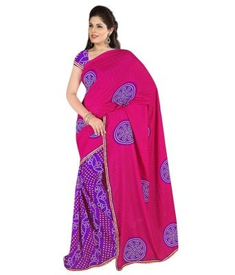 Red and blue printed chiffon saree with blouse