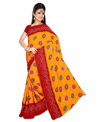 Orange and red printed chiffon saree with blouse