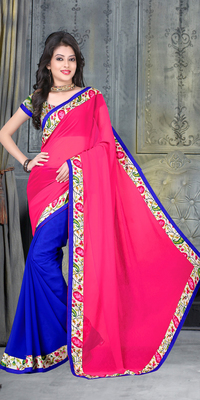 Blue and pink geometric_print georgette saree with blouse