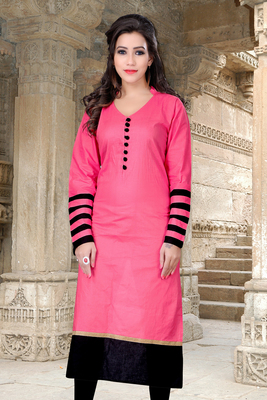 pink cotton plain kurti