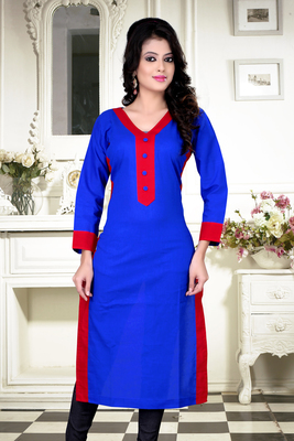 blue cotton plain kurti